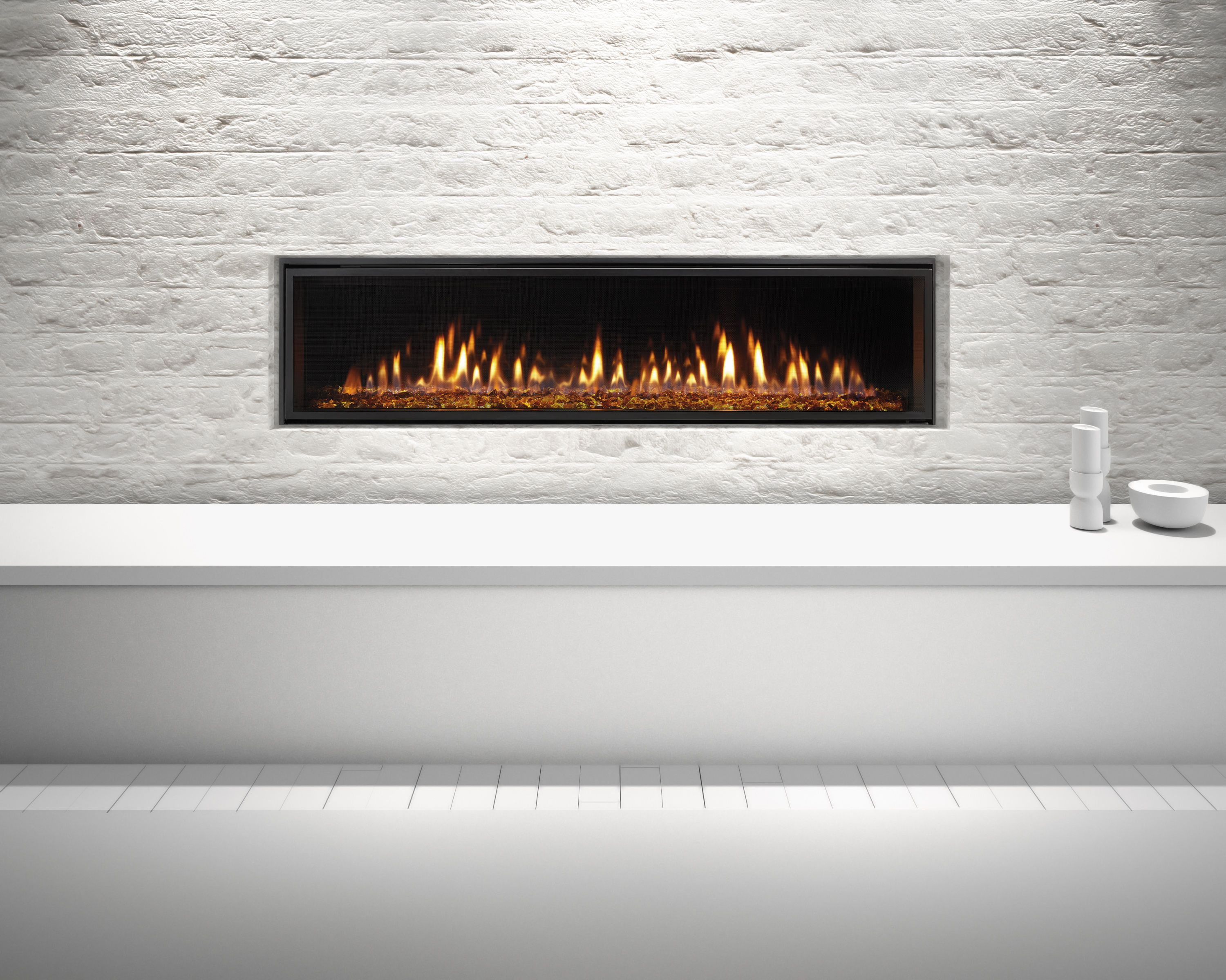 Heat Glo Mezzo 60 Gas Fireplace With Clean Face Trim Amber