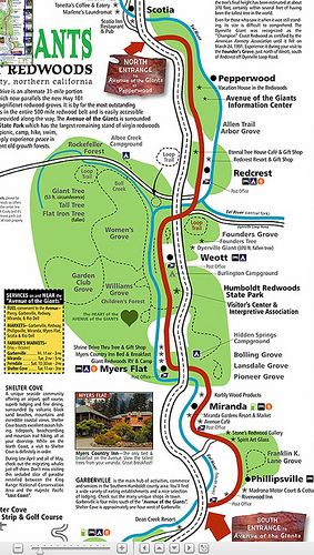 Avenue of the Giants Map | California in 2019 | Oregon travel, West