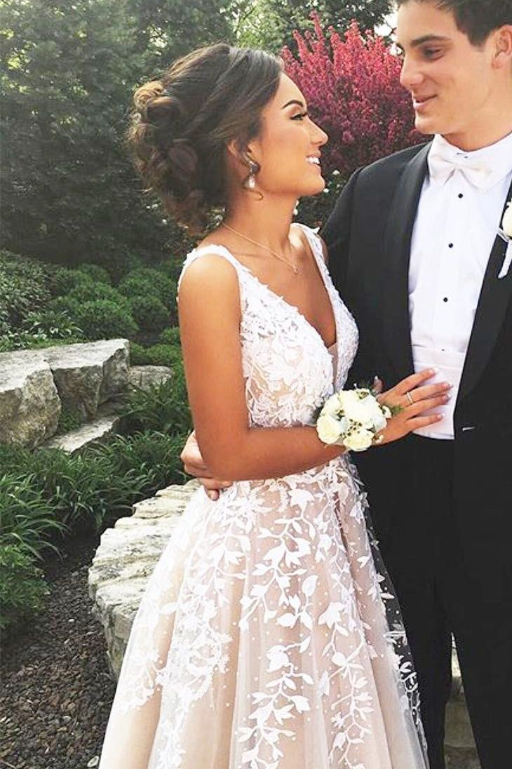 Elegant Ivory Long Prom Dress with Lace Appliques