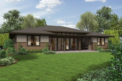 Flexible Plan Suited To Front And Or Rear Views Plan 1247 The Dallas Is A 2136 Sqft Contemporary Ranch House Plans Ranch House Exterior Prairie Style Houses
