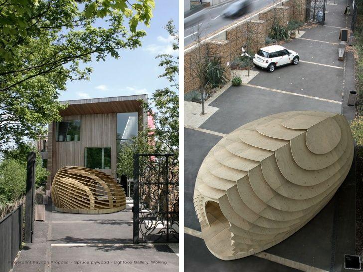 Fingerprint Pavilion Proposal   Spruce Plywood   Lightbox Gallery, Woking