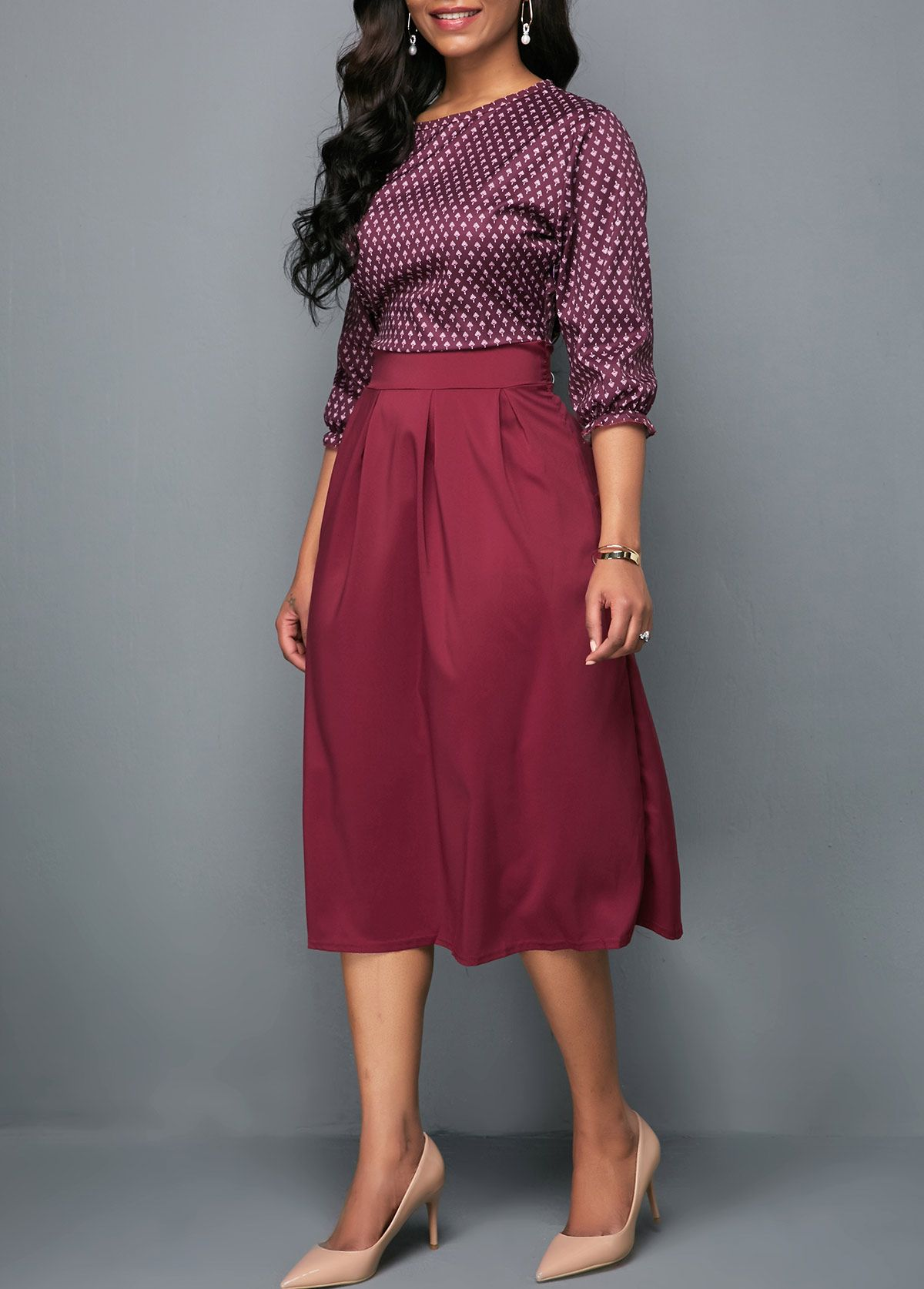ef7981cb8482 High Waist Burgundy Three Quarter Sleeve Printed Dress | Rotita.com - USD  $24.55