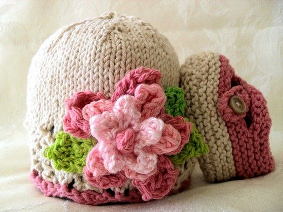 Hand Knitted Baby Hat in Pink and Ivory with a by CottonPickings ...