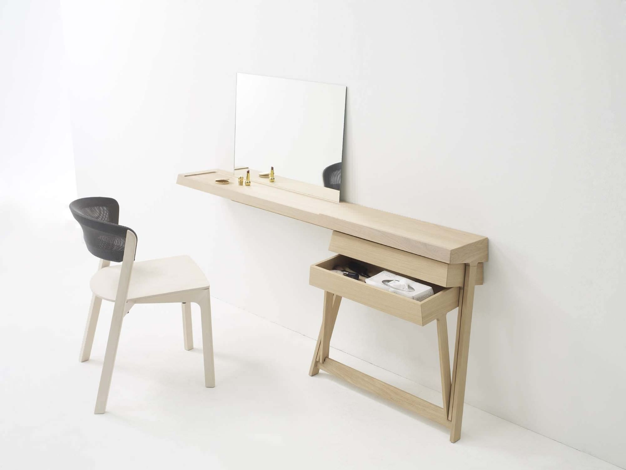 Modern dressing table with mirror - Pleasureable Oak Unfinished Wall Mount Dressing Tables With Storage And Square Mirror Added White Armless Chairs