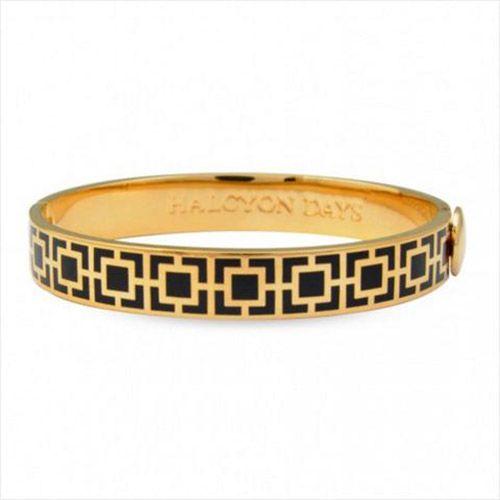 Halcyon Days Mosaic Black and Gold Hinged Bangle