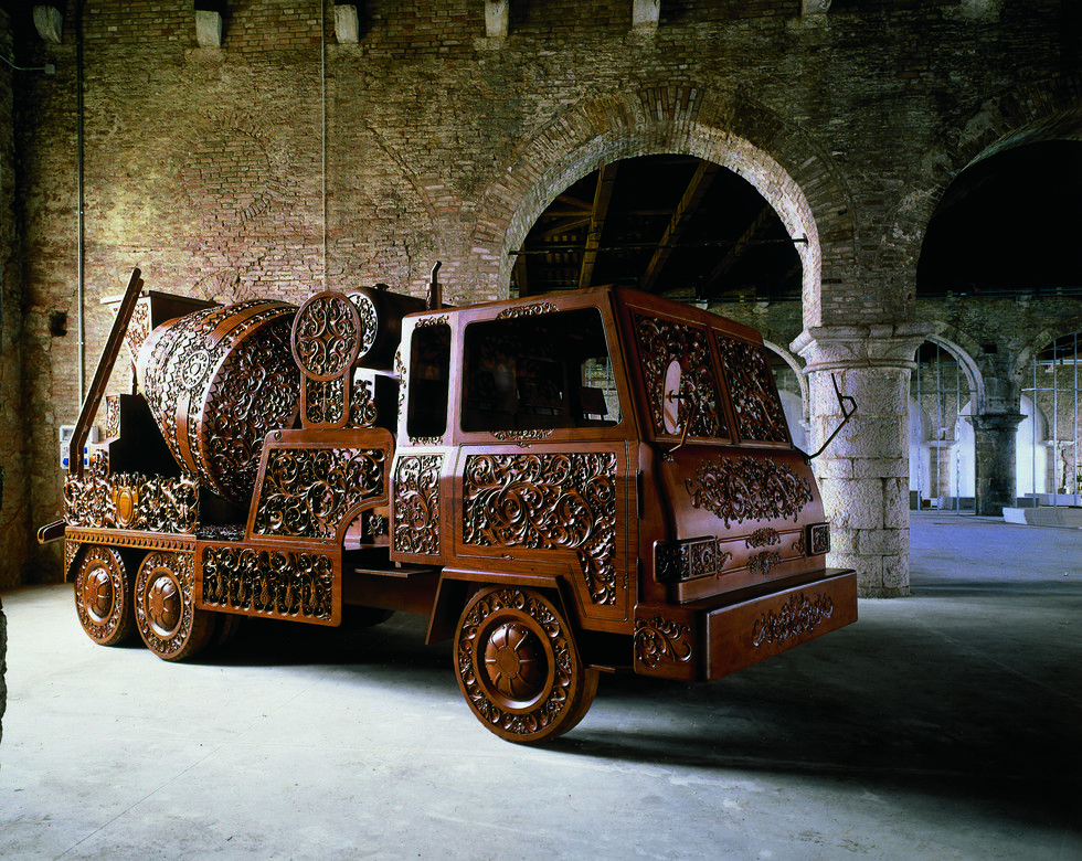 WIM DELVOYE. Cement Truck I, 1990 -1999. Carved teak wood, 681 x 325 x 225 cm (48th Biennale de Venice, Venice)
