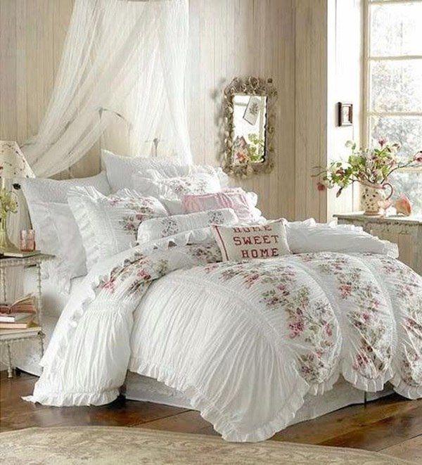 Romantic bedroom ideas shabby chic decor framed mirror lovely ...