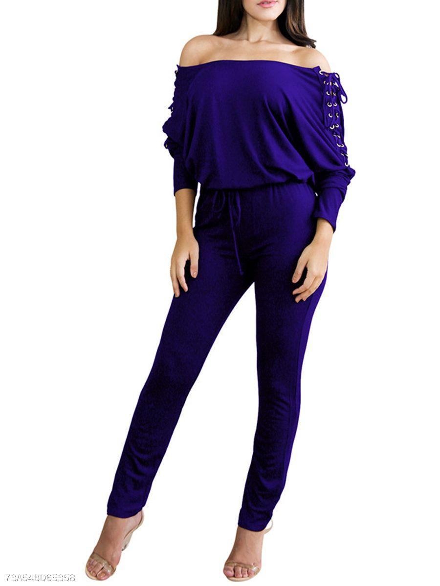 b80d380c83fd Off Shoulder Lace-Up Plain Slim-Leg Jumpsuit fall fashion trends Work