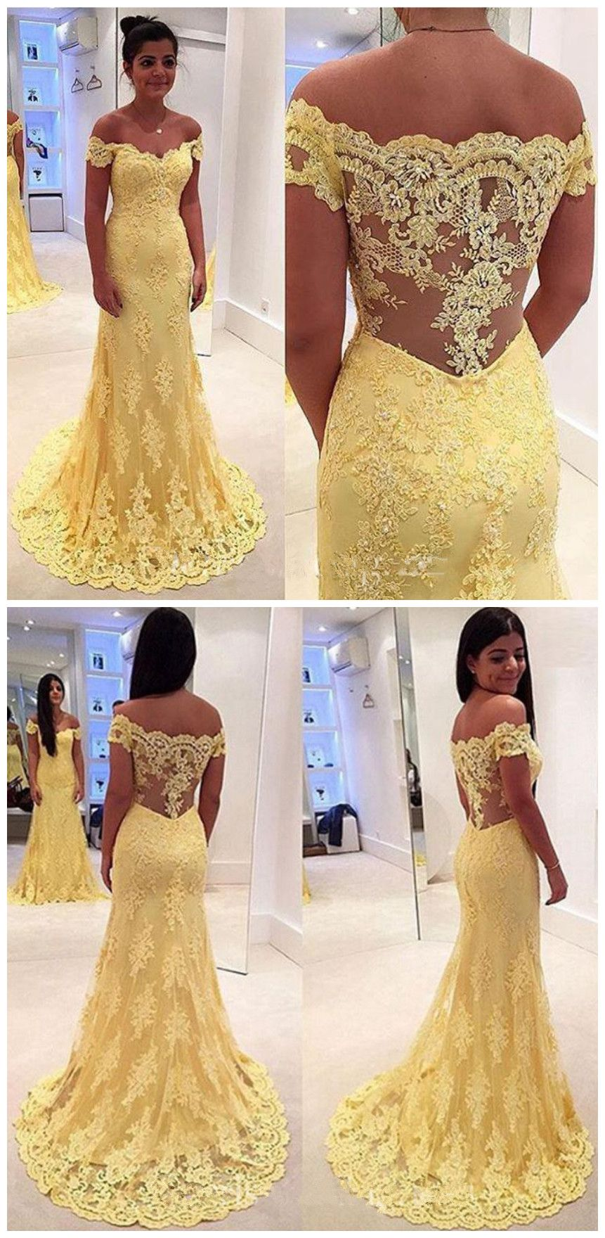 Modern Yellow Lace Appliques Evening Dress Mermaid prom
