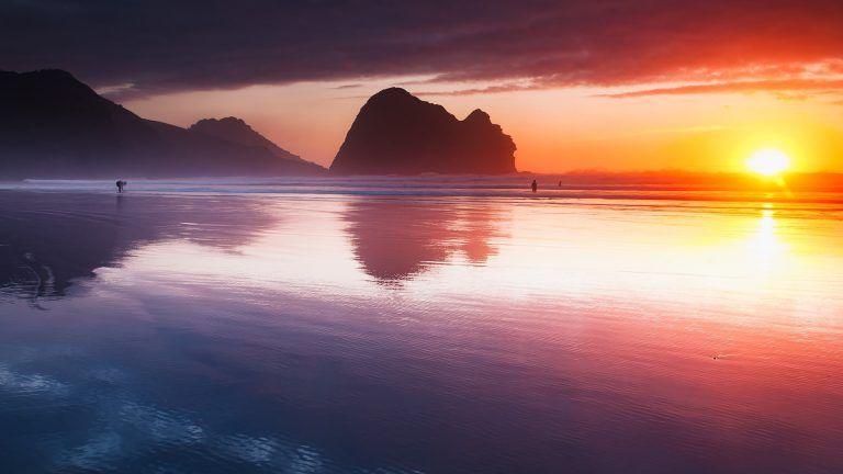 Sunset At Piha Beach Auckland New