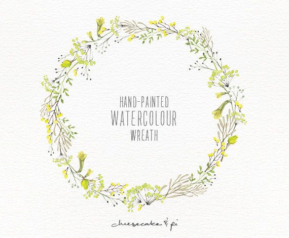 Watercolor Wreath Hand Painted Floral Wreath Clipart