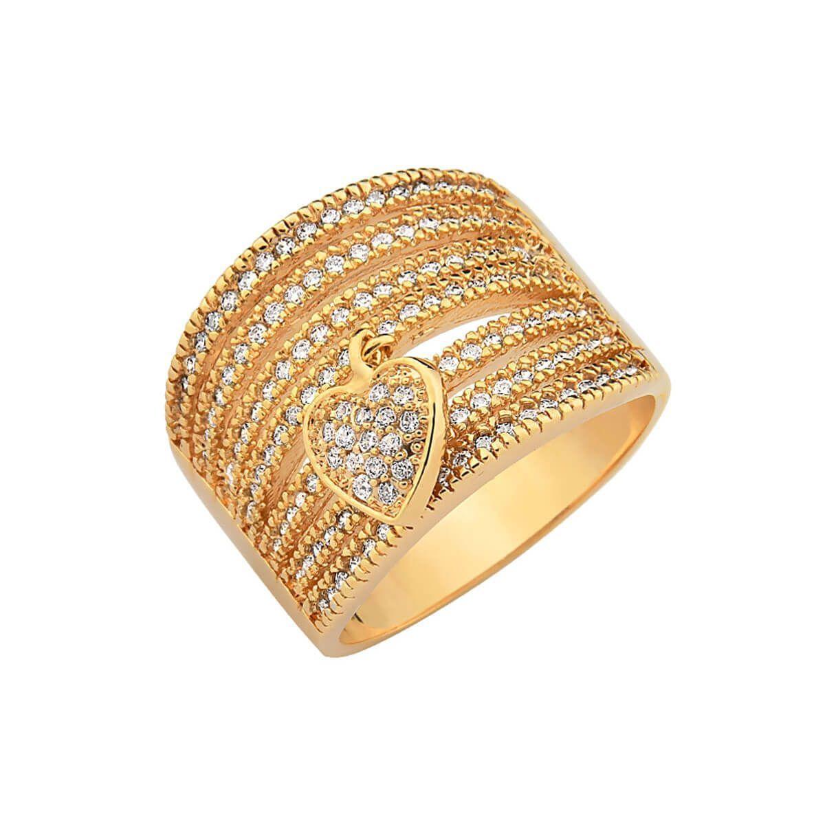 Anel com pingente de coração folheado a ouro 18k com zircônias Dimensões  aproximadas Altura  3ff770bc96