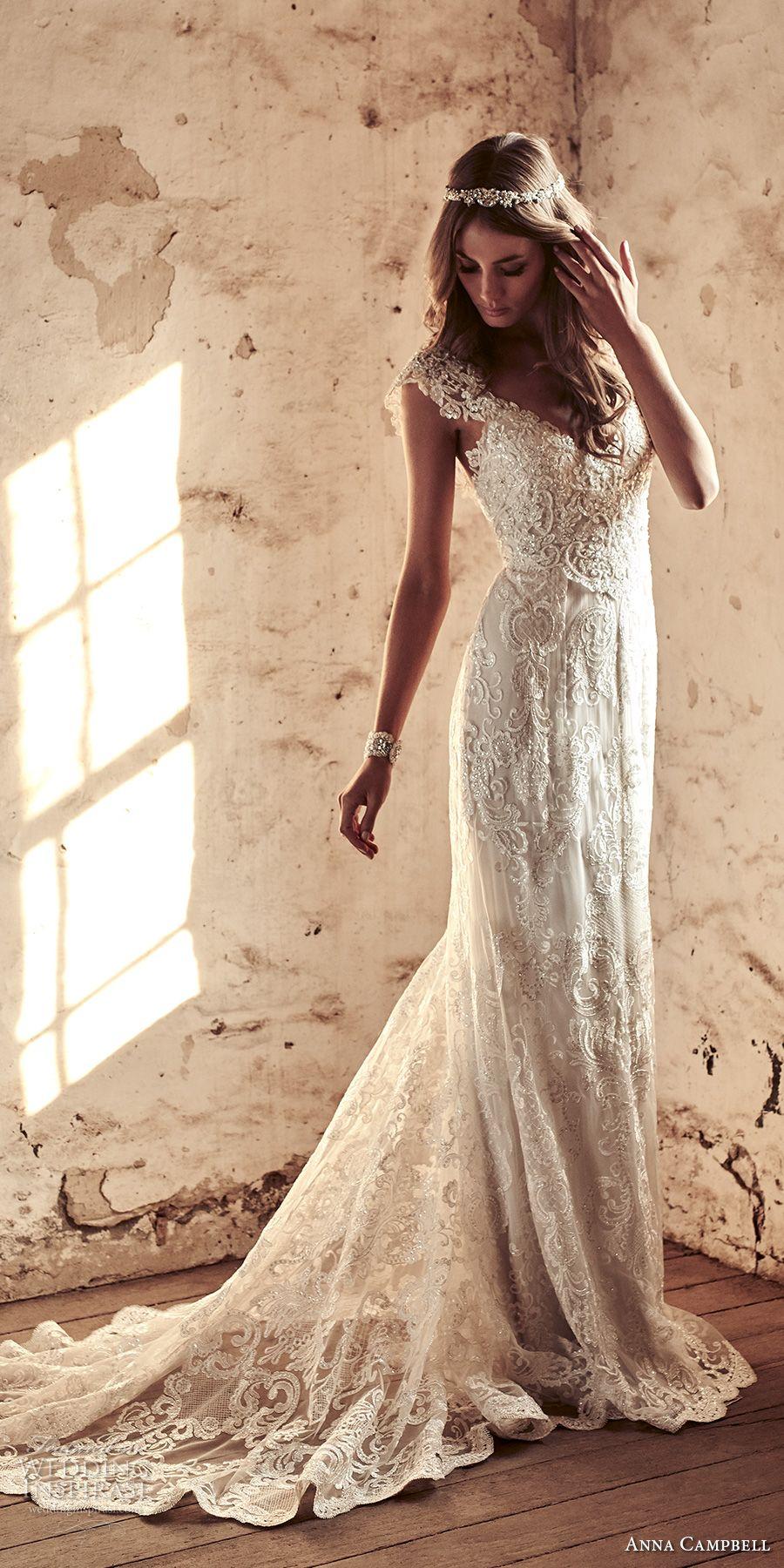 Anna campbell bridal cap sleeves v neck full embellishment
