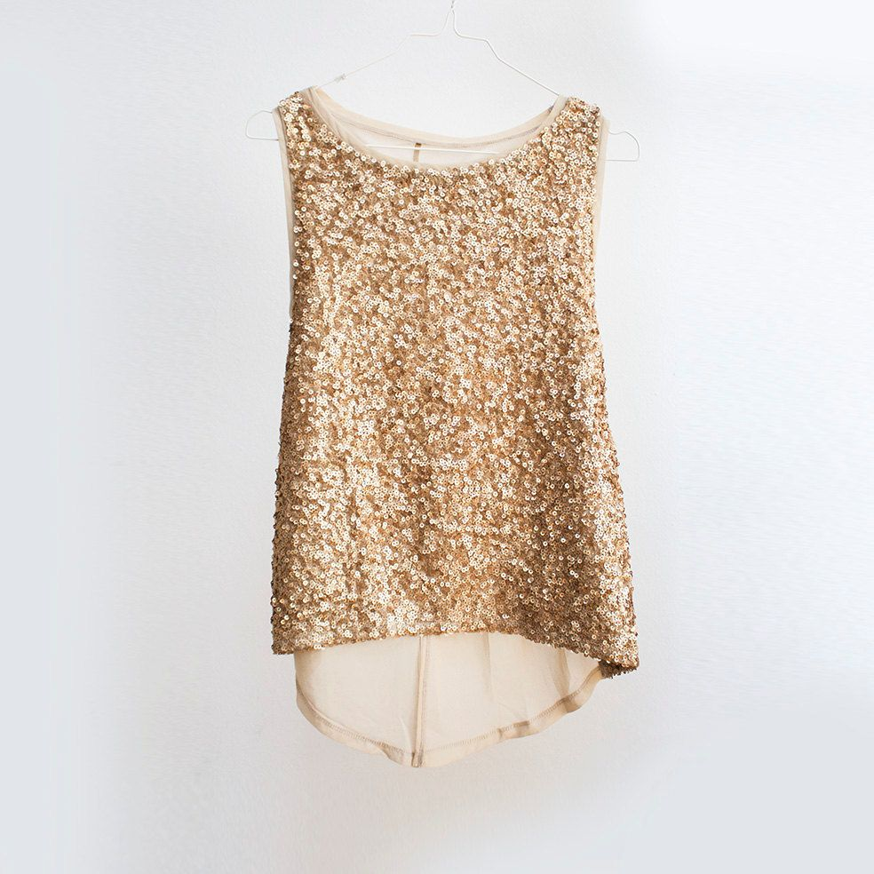 Rich Gold Sequin tank top, Gold sheer chiffon blouse, Vintage ...