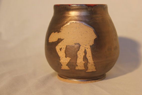 Star Wars at-at and at-st pot by SaltyEarthPottery on Etsy