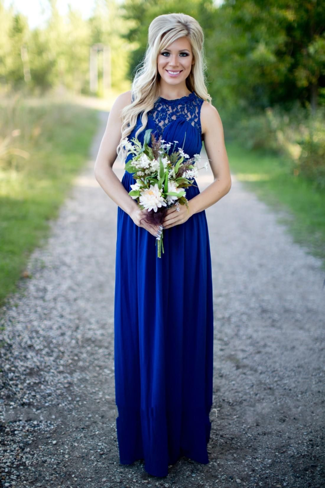 75a32658ed Country Bridesmaid Dresses Long For Weddings Royal Blue Chiffon Lace ...