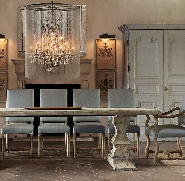 Vaille Crystal Chandelier 45 Quot Restoration Hardware Dining Table Narrow Dining