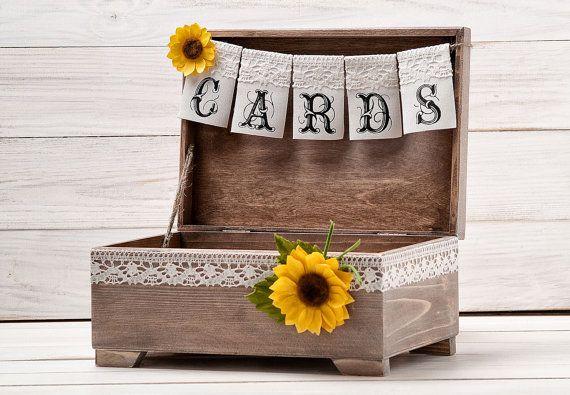 Sunflower Card Box, Fall Wedding Wishes Box, Money Gift