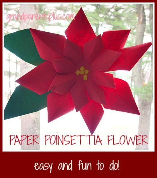 Paper Poinsettia Art Project Winter Art Projects Paper Flowers Diy Art For Kids
