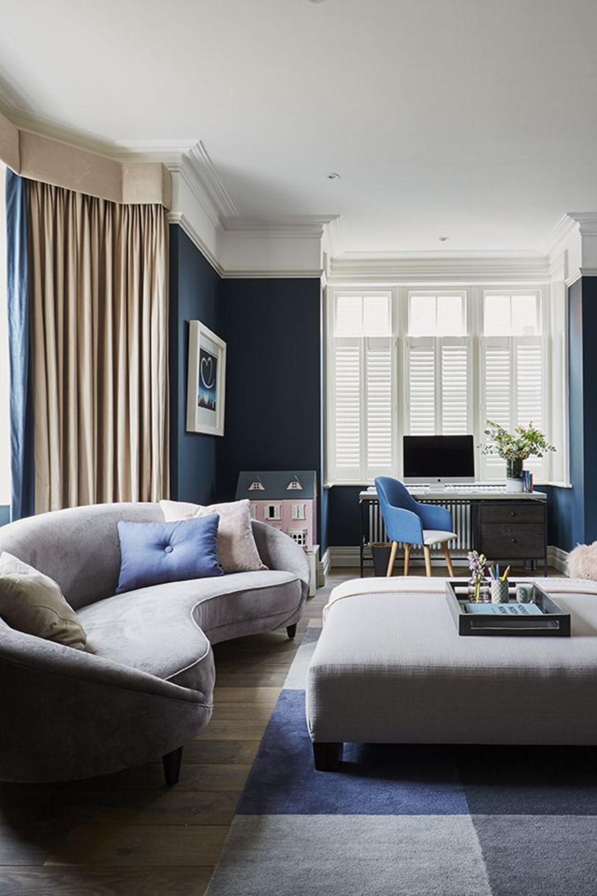 Room Redo Contemporary Living Room With Blue Walls Contemporary