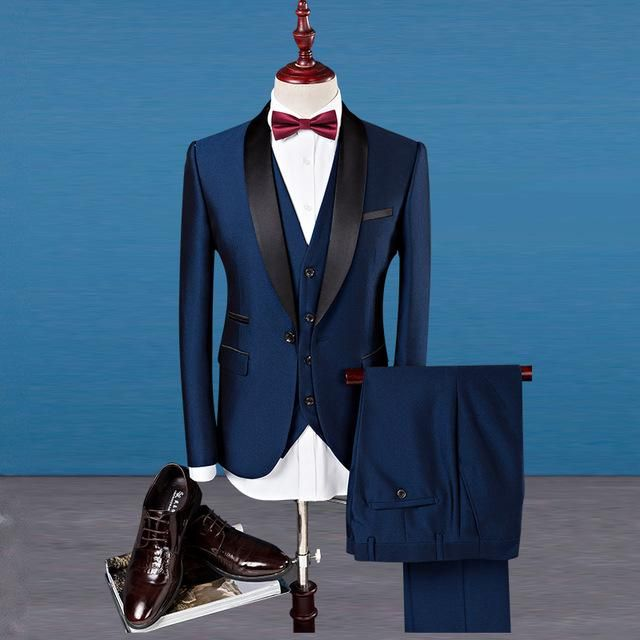 bc6a77969b Patched collar slim fit groom tuxedos (Jacket+Vest+Pants)