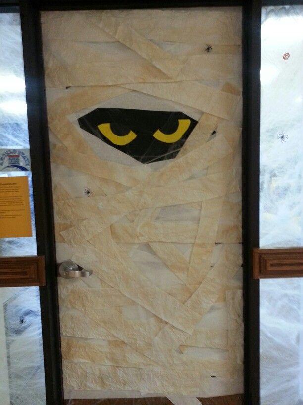 Halloween Mummy Door Decorating Halloween Door Decorations Halloween Door Door Decorations