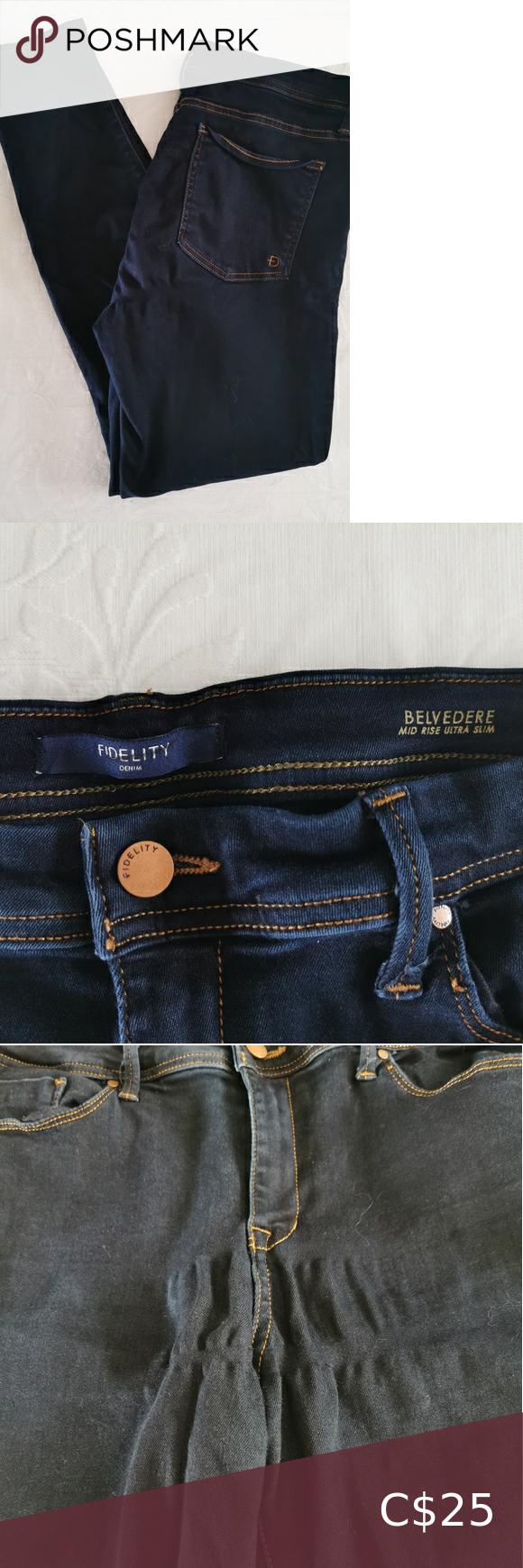Fidelity Belvedere Blue Jeans Size 33 in 2020 White