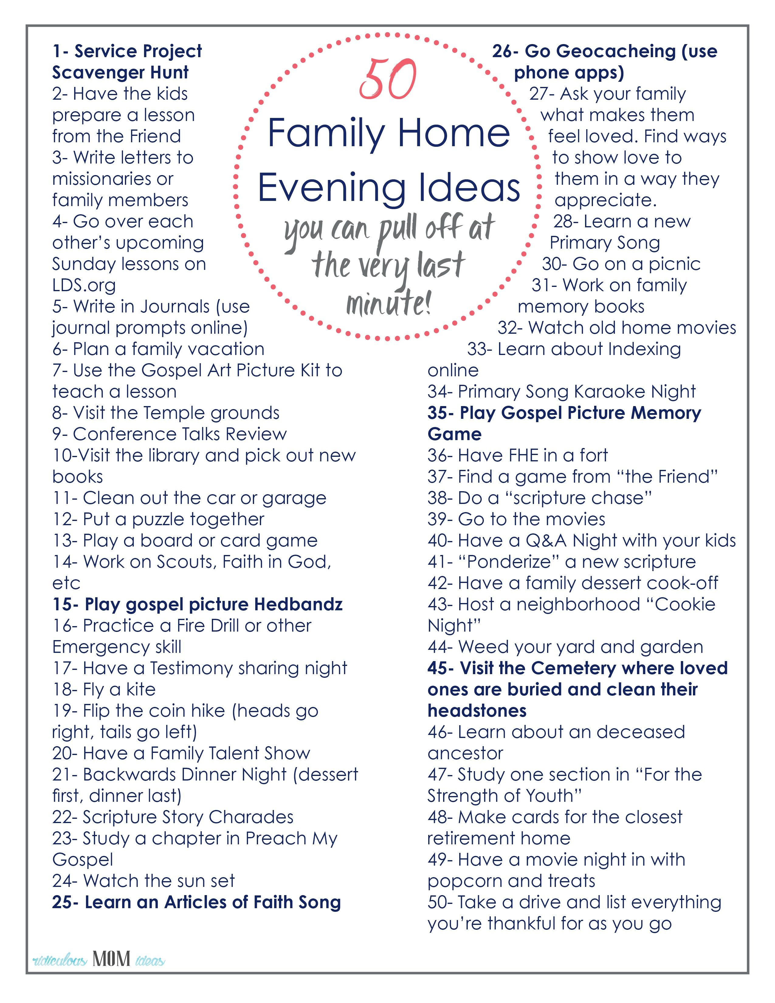 50 Family Home Evening Ideas-that you can pull off at the very last ...