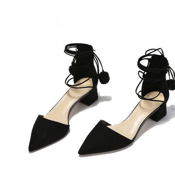 0ad074e77b13 Women s Style Sandal Shoes Cute Black Pointy Toe Suede Strappy Sandals  Chunky Heels Suede Closed Toe Sandals For Party Sexy High Heels Shoes  Summer Bucket ...