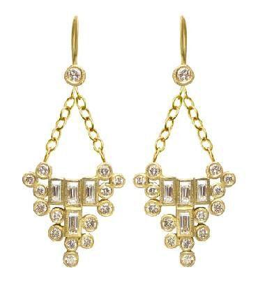 Laurie Kaiser baguette diamond earrings.