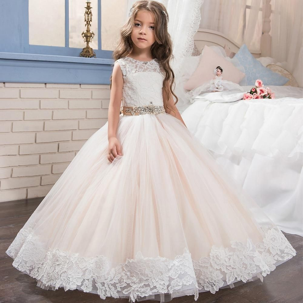 Fancy beading dresses sleeveless appliques satin button flower girl