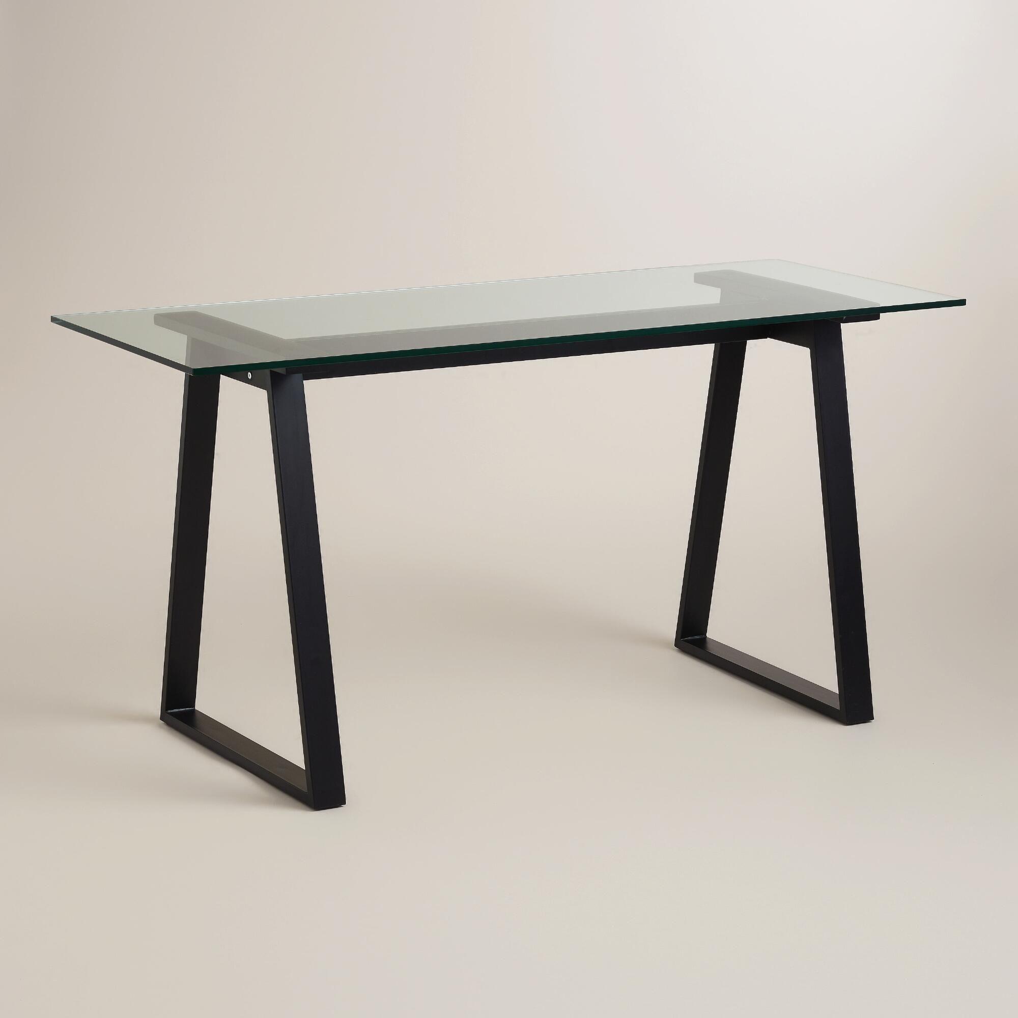 Glass And Blackened Metal Colton Mix Match Desk Glass Desk