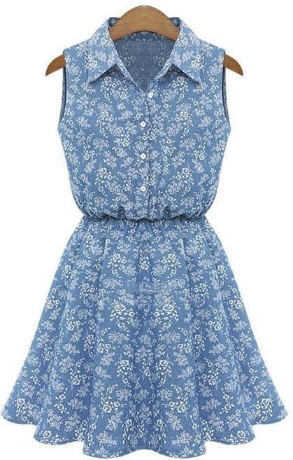 Vestido Jeans Floral - Mandora's Store