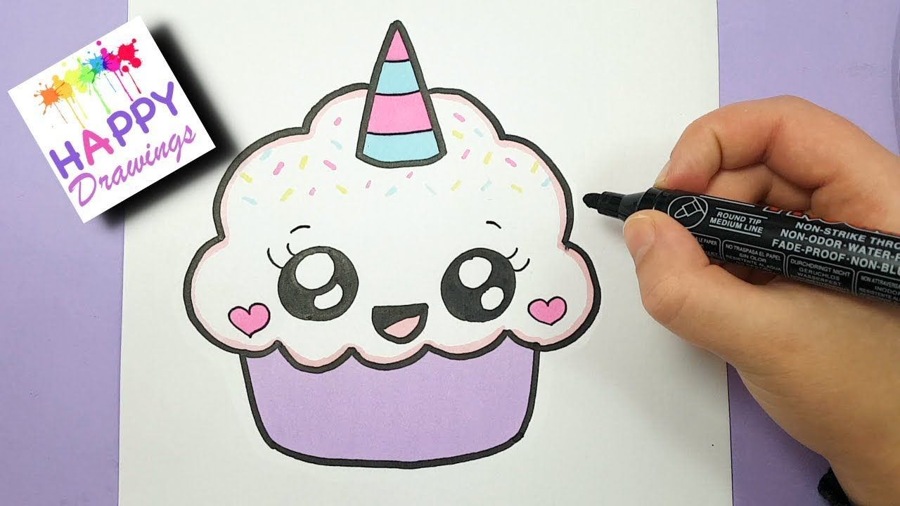 How to draw a cute cupcake unicorn super easy and kawaii for Cute muffin drawing