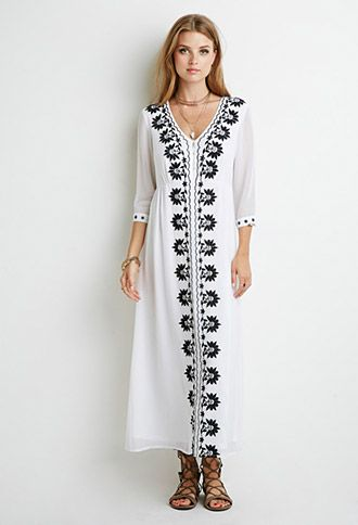 9d7604ef1bf Floral Embroidered Maxi Dress