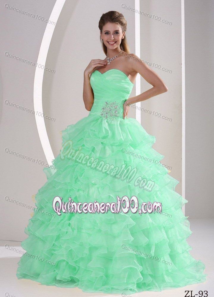 Princess Beaded Apple Green Sweet 15 Dresses with Ruffled Layers ...