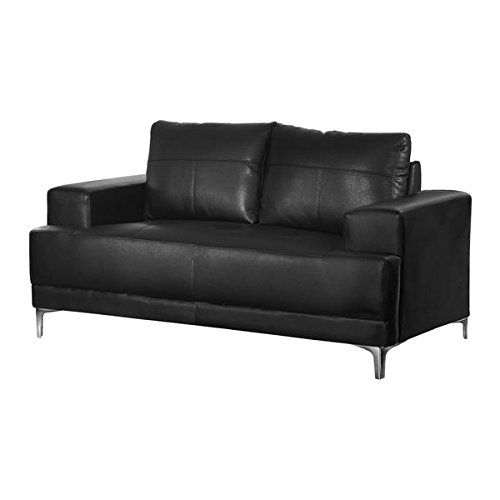 2 Person Loveseat Sofa Black Bonded Leather Loveseat Silver Metal Legs