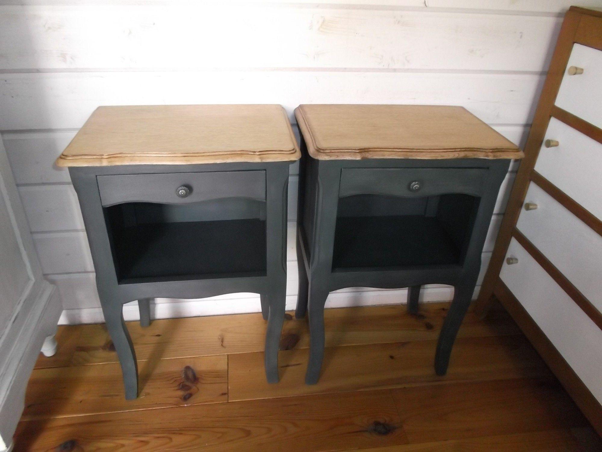 TABLES DE CHEVET patines  l ancienne doccasion vintage design scandinave industriel