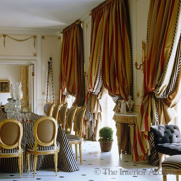 Mimmi OConnell Dramatic Heavily Layered Curtains Dress The Windows Of This Dining