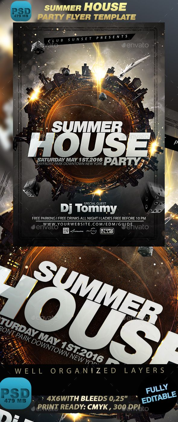 Summer House Party Flyer Template | Party flyer, Flyer template and ...