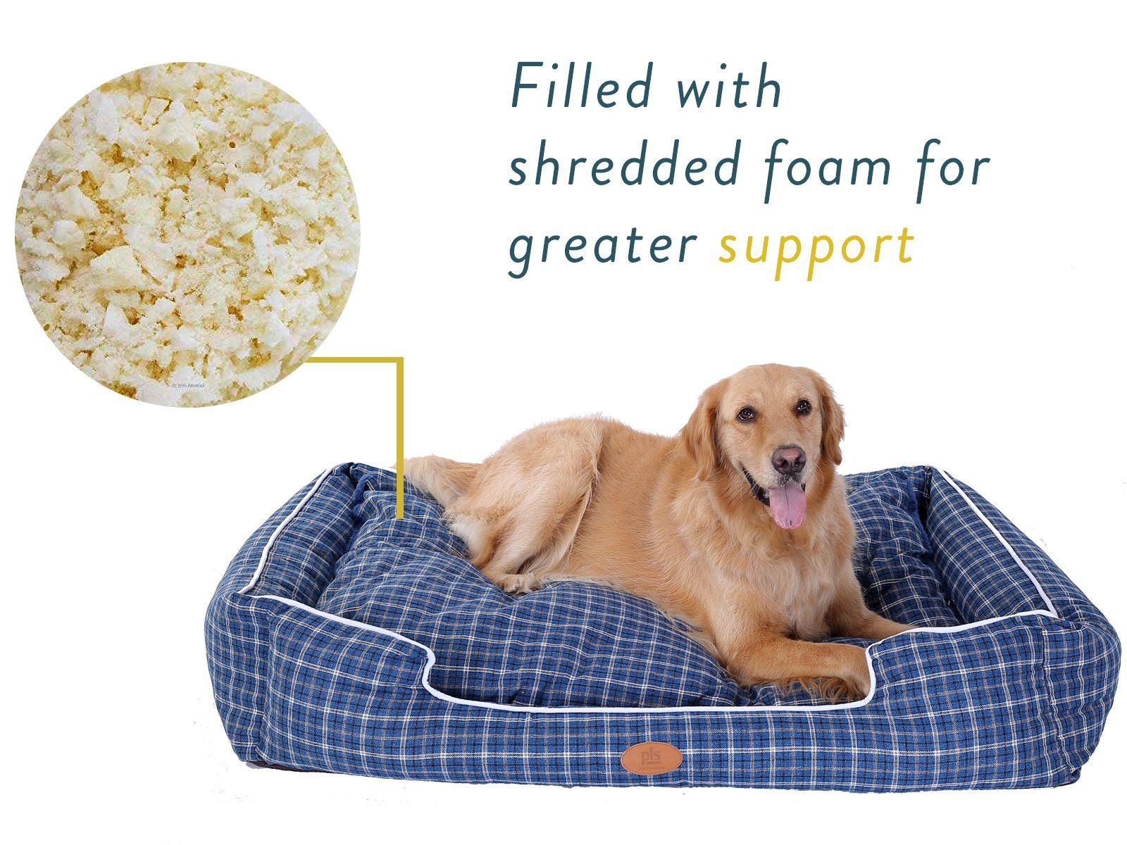 Pls Birdsong Trellis Bolster Plaid Large Dog Bed Pet Bed Cat Bed