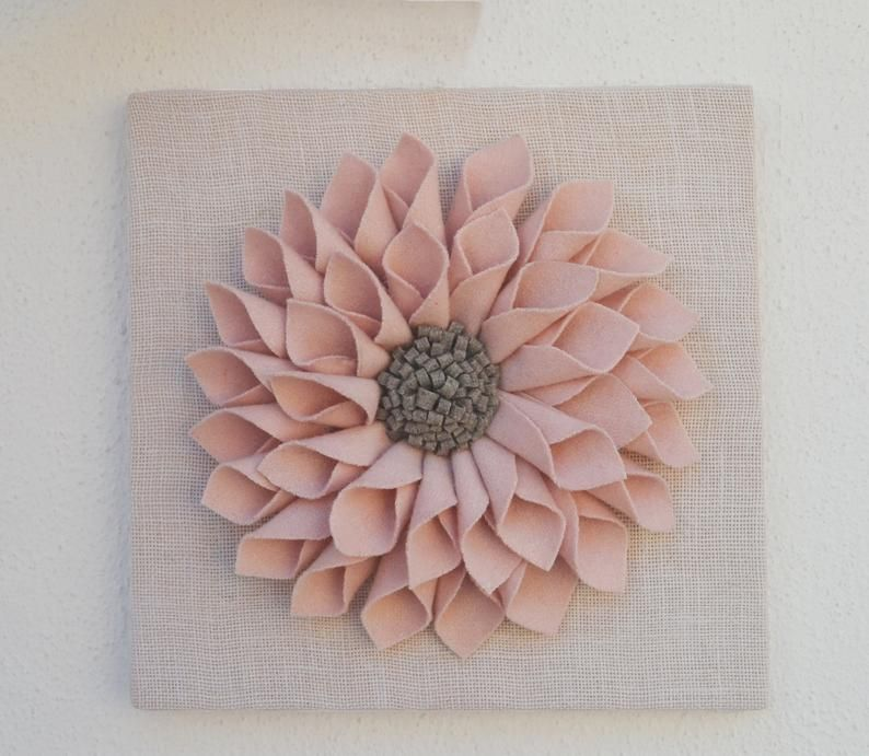 Wall Art Wall Hanging Blush Pink Wall Decor Felt Flower On Etsy