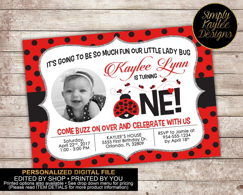 Ladybug Birthday Invitation - Spring Birthday Invitation | Ladybug ...