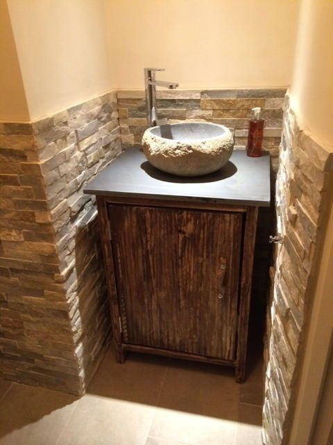 slate top driftwood pebble stone sink washbasin cabinet stand