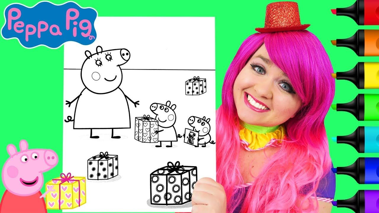 Coloring Peppa Pig & Mummy Pig Birthday Coloring Page Prismacolor ...