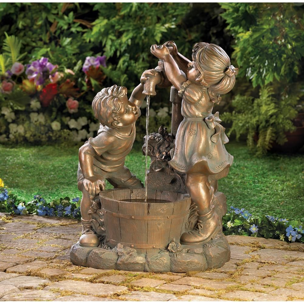 Whats More Refreshing Than A Cool Drink On A Hot Day Beautiful Bronze Look Fountain Shows Two Chil Garden Water Fountains Fountains Outdoor Sculpture Fountain