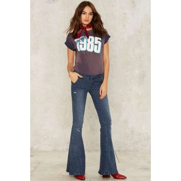 One Teaspoon Parklane Flared Jeans ($158) ❤ liked on Polyvore featuring jeans, flare jeans, ripped jeans, destructed jeans, ripped flare jeans and dark blue jeans