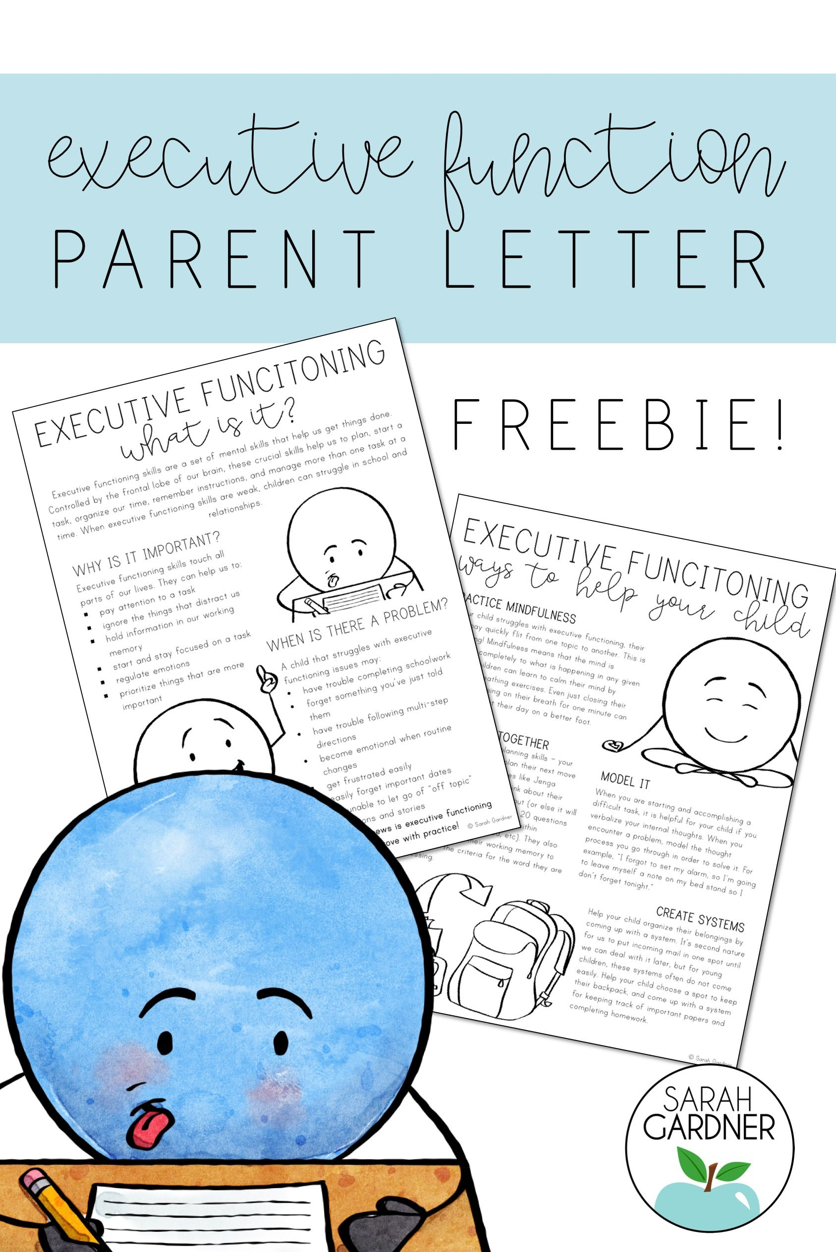 Executive Functioning Parent Letter Freebie