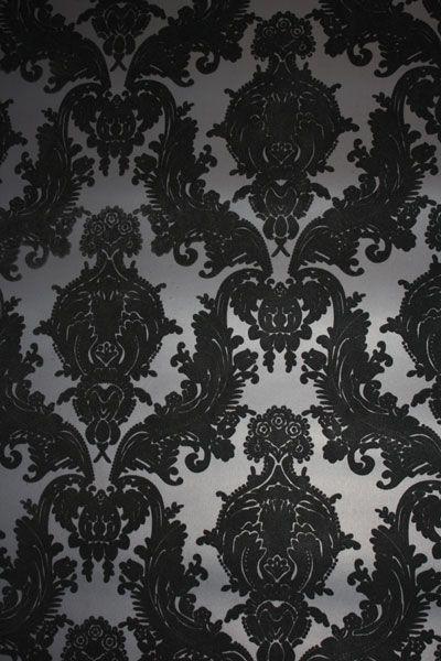 Black Flocked Wallpaper Jpg 400 600 Flock Wallpaper Velvet Wallpaper Damask