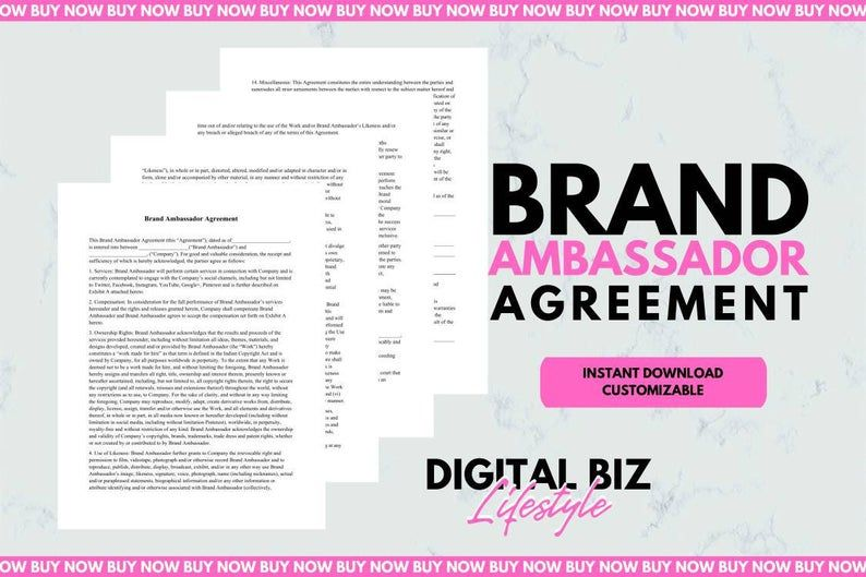 Brand Ambassador Agreement Easy To Customize Instant Etsy In 2021 Brand Ambassador Brand Ambassador Jobs Templates